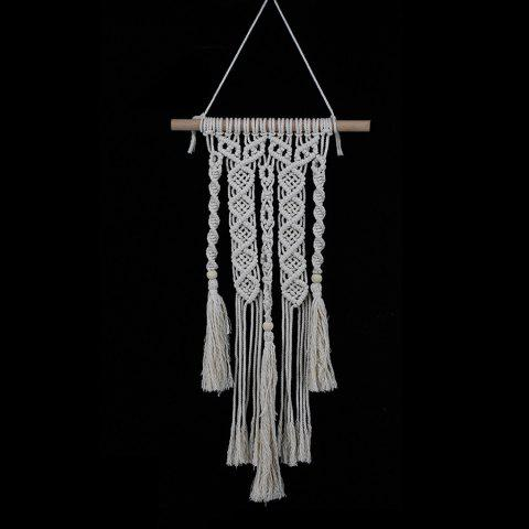 Cotton Fringed Handmade Woven Wall Hanging Art - BEIGE