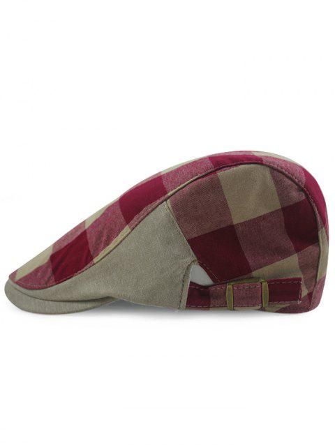 Outdoor Checked Pattern Embellished Adjustable Cabbie Hat - DARK RED