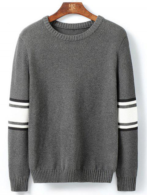 Stripe Color Block Pullover Sweater - DEEP GRAY XL