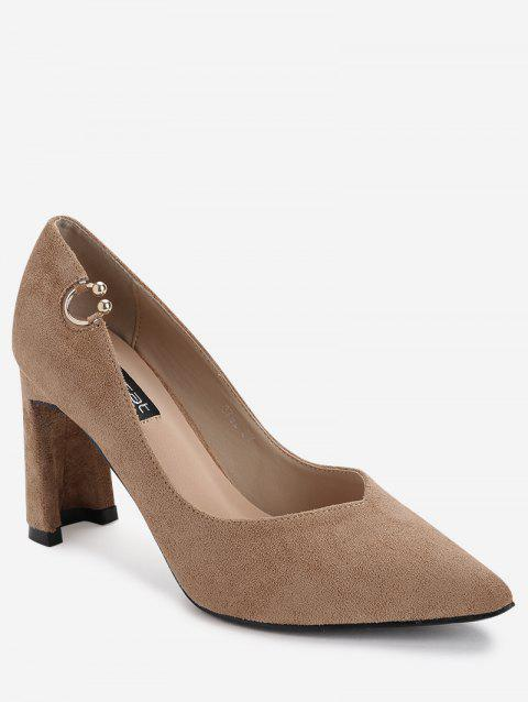 High Heel Pointed Toe Buckled Pumps - KHAKI 38