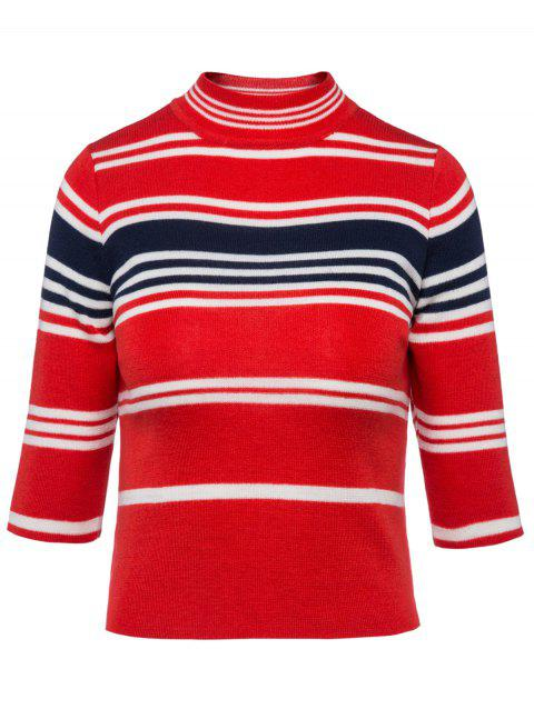 Striped High Neck Cropped Sweater - RED ONE SIZE