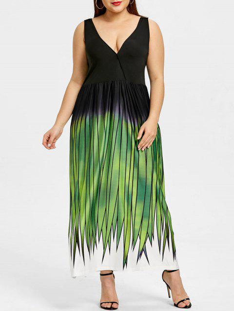Plus Size Grass Print Plunging Neck Maxi Dress