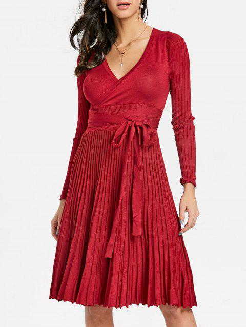 V Neck Pleated Knitted Dress - RED ONE SIZE