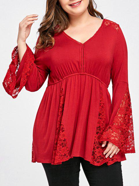 c62cc550381e6 17% OFF  2019 Plus Size Bell Sleeve V Neck Top In RED 2XL ...