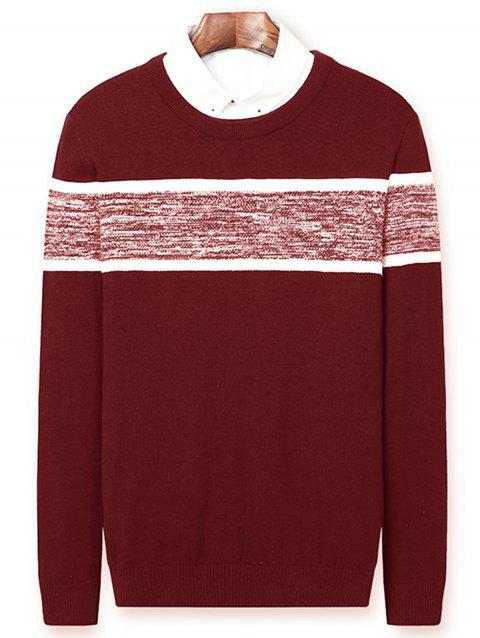 Color Block Panel Knitted Pullover Sweater - CLARET XL