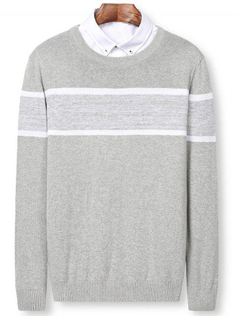 Color Block Panel Knitted Pullover Sweater - LIGHT GRAY 3XL