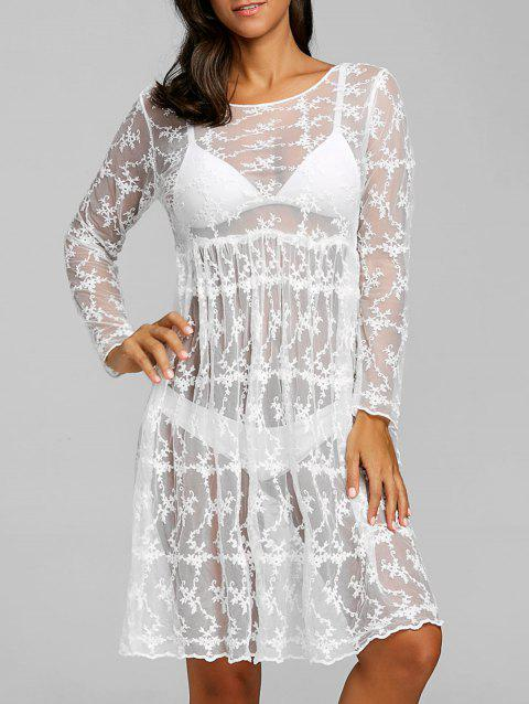 Lace See Thru Cover Up Beach Dress - WHITE ONE SIZE