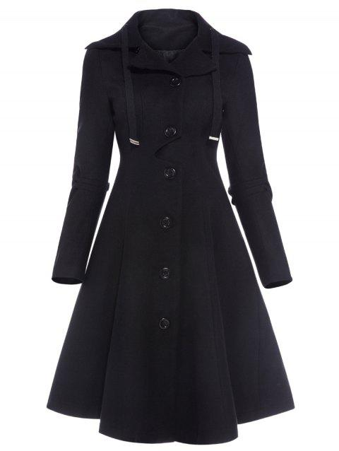 Drawstring Single Breasted Skirted Coat - BLACK XL