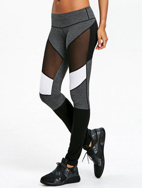 Mesh Insert Skinny Leggings - COLORMIX L