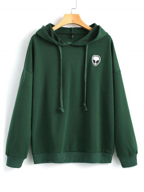 Skull Patches Drawstring Hoodie - DEEP GREEN L