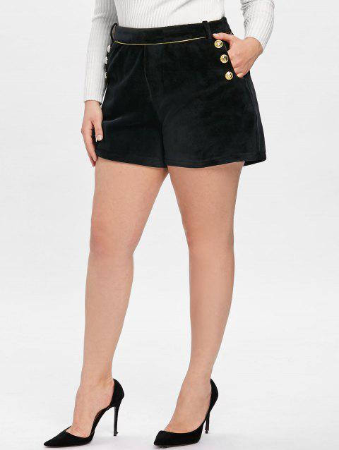 Plus Size Double Breasted  Velvet Shorts - BLACK 4XL