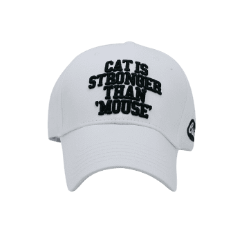 Funny Letter Embroidery Adjustable Baseball Cap - WHITE