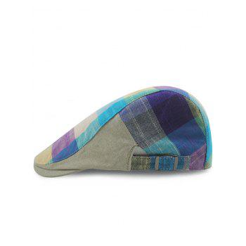 Outdoor Checked Pattern Embellished Adjustable Cabbie Hat - PURPLE PURPLE