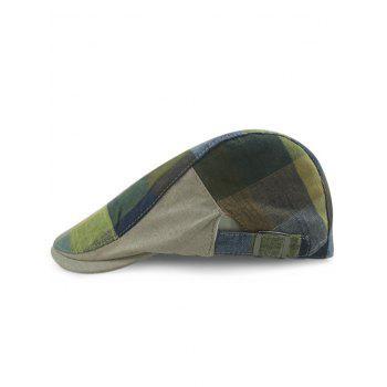 Outdoor Checked Pattern Embellished Adjustable Cabbie Hat - EARTHY EARTHY