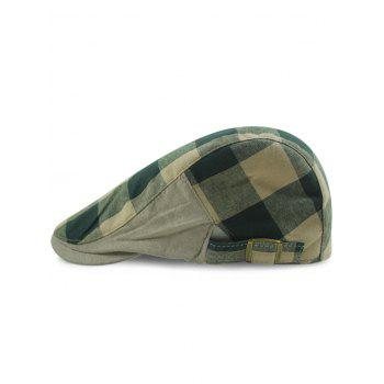 Outdoor Checked Pattern Embellished Adjustable Cabbie Hat - BLACKISH GREEN BLACKISH GREEN