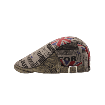 British Flag Embellished Adjustable Flat Hat -  KHAKI