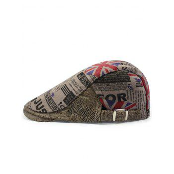 British Flag Embellished Adjustable Flat Hat - KHAKI KHAKI