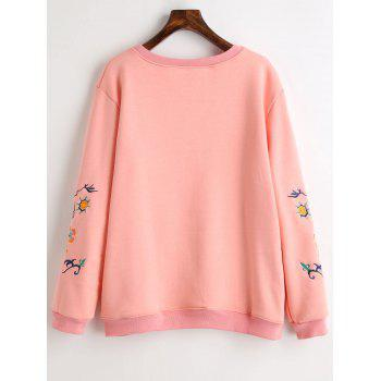 Graphic Embroidered Plus Size Fleece Lined Sweatshirt - PINK 3XL