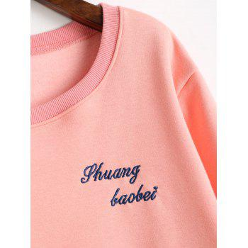 Graphic Embroidered Plus Size Fleece Lined Sweatshirt - PINK PINK