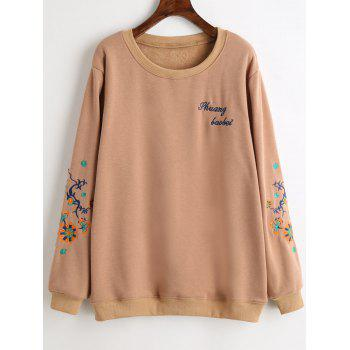 Graphic Embroidered Plus Size Fleece Lined Sweatshirt - APRICOT APRICOT