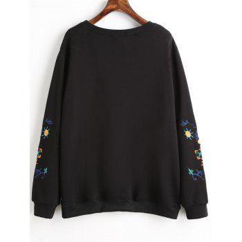 Graphic Embroidered Plus Size Fleece Lined Sweatshirt - BLACK 4XL