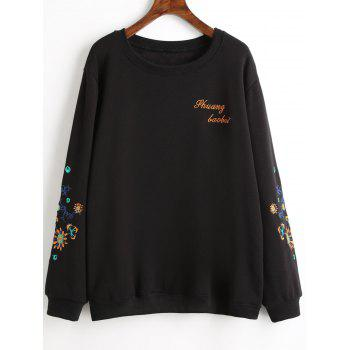 Graphic Embroidered Plus Size Fleece Lined Sweatshirt - BLACK BLACK