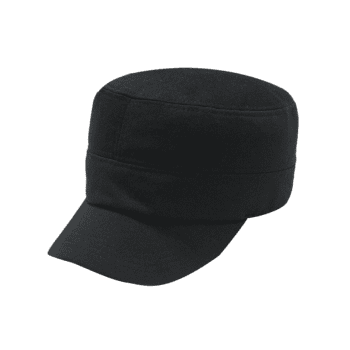 Vintage Simple Line Embroidery Embellished Military Hat -  BLACK