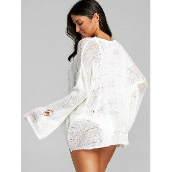 Seashell Embroidered Openwork Crochet Cover Up Top - WHITE ONE SIZE