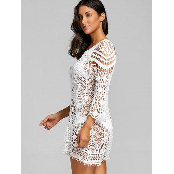 Crochet Low Back Lace Cover Up Top - WHITE WHITE