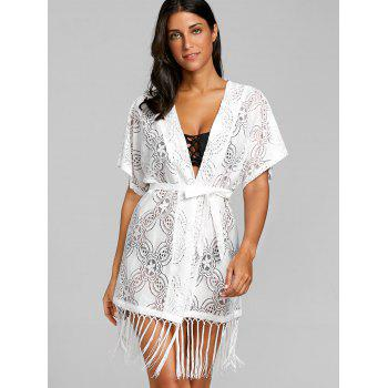 Open Front Fringed Crochet Cover Up Top - WHITE WHITE