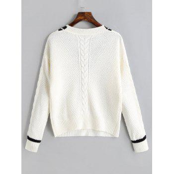 Contrast V Neck Cable Knit Sweater - OFF WHITE ONE SIZE