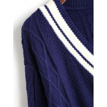 Contrast V Neck Cable Knit Sweater - CERULEAN ONE SIZE