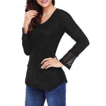 Crochet Trimmed V Neck Knit Top - BLACK L