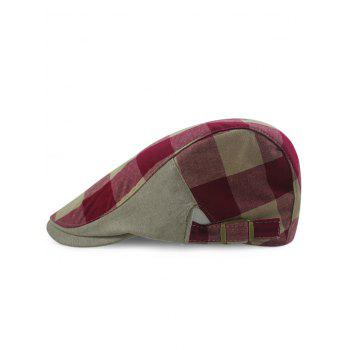 Outdoor Checked Pattern Embellished Adjustable Cabbie Hat - DARK RED DARK RED