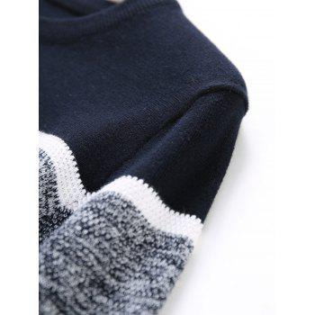 Color Block Panel Knitted Pullover Sweater - DEEP BLUE 3XL