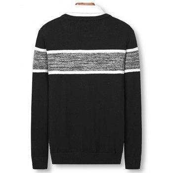 Color Block Panel Knitted Pullover Sweater - BLACK 3XL