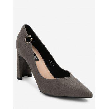 High Heel Pointed Toe Buckled Pumps - GRAY GRAY