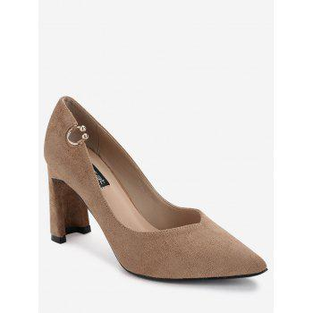 High Heel Pointed Toe Buckled Pumps - KHAKI KHAKI