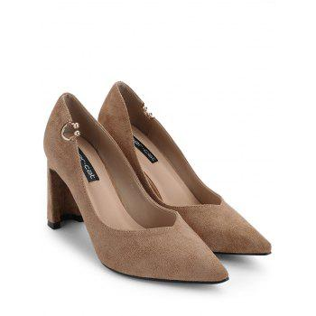 High Heel Pointed Toe Buckled Pumps - KHAKI 35