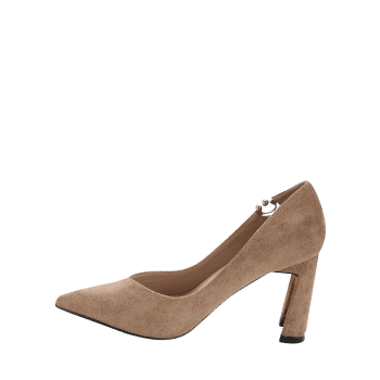 High Heel Pointed Toe Buckled Pumps - KHAKI 36
