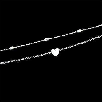 Layered Heart Pendant Two Piece Necklace Set - SILVER