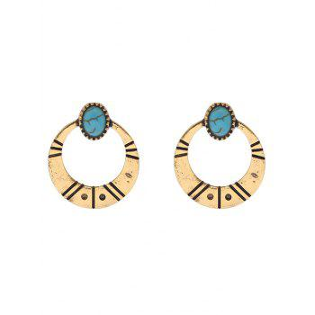 Boucles d'oreilles Tribal Moon Faux Turquoise - Or