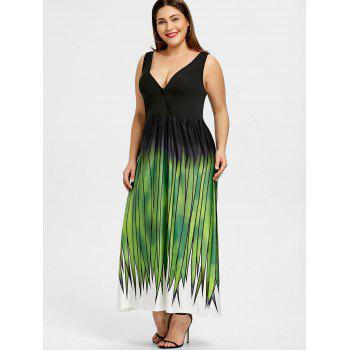 Plus Size Grass Print Plunging Neck Maxi Dress - GREEN XL
