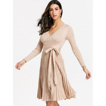 V Neck Pleated Knitted Dress - LIGHT BEIGE ONE SIZE
