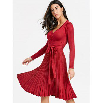 V Neck Pleated Knitted Dress - RED RED