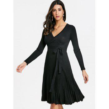 V Neck Pleated Knitted Dress - BLACK ONE SIZE