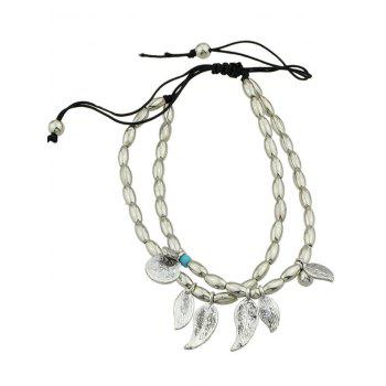 Adjustable Leaf Charm Beads Layered Mother Bracelet - SILVER