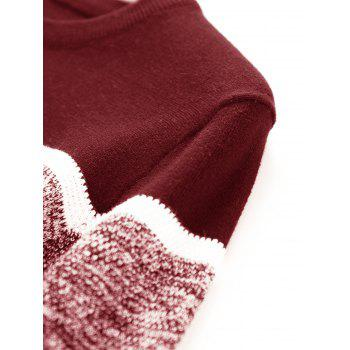 Color Block Panel Knitted Pullover Sweater - CLARET 3XL