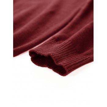 Color Block Panel Knitted Pullover Sweater - CLARET 2XL