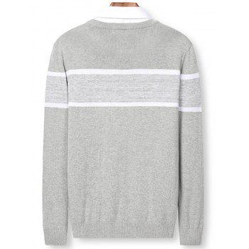 Color Block Panel Knitted Pullover Sweater - LIGHT GRAY 2XL